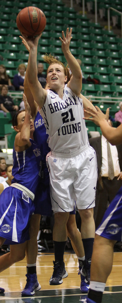 Rick Egan  | The Salt Lake Tribune   Brigham Young Cougars guard Lexi Eaton (21)shoots in basketball action, BYU vs. Creighton, at EnergySolutions Arena,  Wednesday, November 28, 2012.