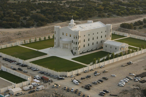 "Trent Nelson  |  The Salt Lake Tribune  Aerial views of the FLDS compound YFZ ""Yearning for Zion"" Ranch in Eldorado, Texas, on April 8, 2008."