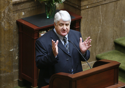 Scott Sommerdorf  |  The Salt Lake Tribune              Congressman Rob Bishop, R-Utah, addresses the Utah House of Representatives in 2012.