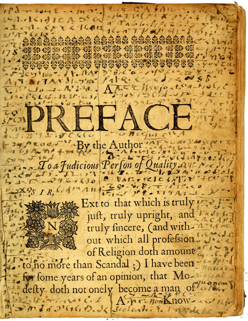 "This image provided by Brown University shows the preface page of the ""Mystery Book"" from the John Carter Brown Library in Providence, R.I. Lucas Mason-Brown, a senior mathematics major at Brown University, helped crack a mysterious shorthand code developed and used by religious dissident Roger Williams in the 17th century. The handwritten code surrounds the printed text on the preface page. (AP Photo/John Carter Brown Library at Brown University)"