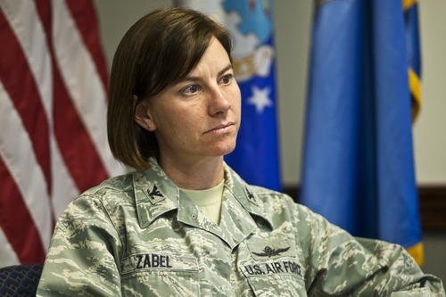 Chris Detrick  |  The Salt Lake Tribune Col. Sarah Zabel, the commander of the 75th Air Base Wing at Hill Air Force Base, talks about the repeal of Don't Ask Don't Tell at Hill Air Force Base Tuesday September 13, 2011.