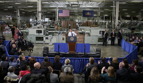 President Barack Obama speaks at The Rodon Group manufacturing facility, Friday, Nov. 30, 2012, in Hatfield, Pa. Obama spoke at the toy company about how middle class Americans would see their taxes go up if Congress fails to act to extend the middle class tax cuts. (AP Photo/Matt Slocum)
