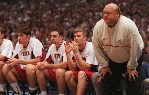 Rick Majerus grimmaces on the sideline as the Utes start to falter against Kentucky. Griffin/photo