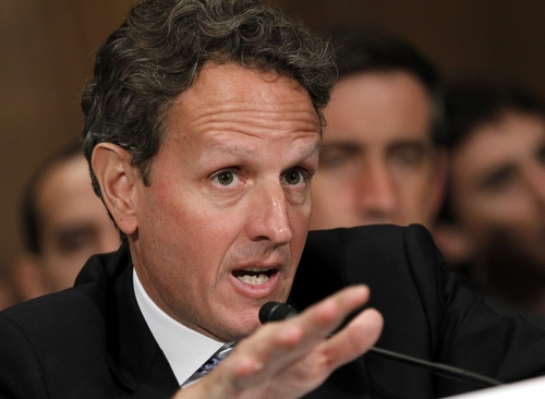 """(AP Photo/Haraz N. Ghanbari) """"That was the best alternative available at the time, and you can't say now with confidence that that choice in any way disadvantaged the American taxpayer,"""" Treasury Secretary Timothy Geithner told the Senate Banking Committee Thursday. """"I think it's quite unlikely, but we're going to take a careful look at that."""""""
