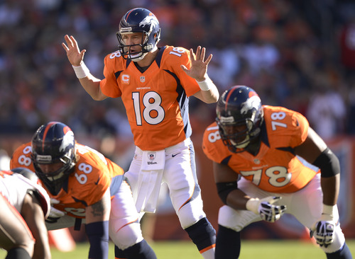 Denver Broncos quarterback Peyton Manning (18) calls a play during the first quarter of an NFL football game against the Tampa Bay Buccaneers on Sunday, Dec. 2, 2012, in Denver. (AP Photo/Jack Dempsey)