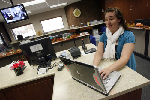 Francisco Kjolseth  |  The Salt Lake Tribune Katie Hawker, account clerk for the City of Orem Department of Administrative Services works on one of the office computers. The City of Orem has UTOPIA service which provides high speed internet services.