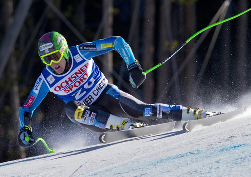 Ted Ligety from the United States, speeds down the course during the men's World Cup super-g ski race in Beaver Creek, Colo., on Saturday, Dec. 1, 2012. (AP Photo/Nathan Bilow)