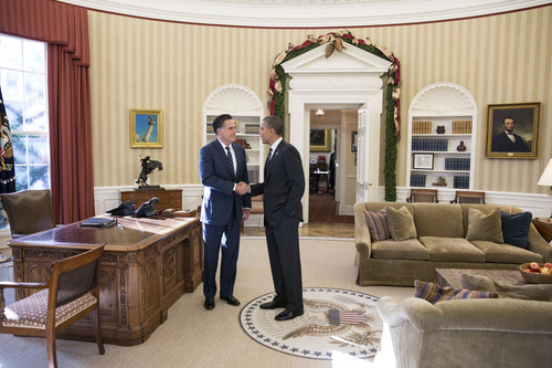 President Barack Obama and former Massachusetts Gov. Mitt Romney talks in the Oval Office following their lunch, Nov. 29, 2012. (Official White House Photo by Pete Souza)  This official White House photograph is being made available only for publication by news organizations and/or for personal use printing by the subject(s) of the photograph. The photograph may not be manipulated in any way and may not be used in commercial or political materials, advertisements, emails, products, promotions that in any way suggests approval or endorsement of the President, the First Family, or the White House.