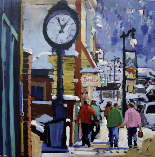 """Courtesy Carole Wade Park City artist Carole Wade will present her """"Clock on Main"""" and other paintings at the Pioneer Theatre Company's Loge Gallery, Nov. 30-Dec. 15, 2012."""