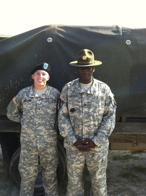 Courtesy photo Staff Sgt. Terry Achane, right, at Fort Jackson in South Carolina, with Pfc.. James Wilson.