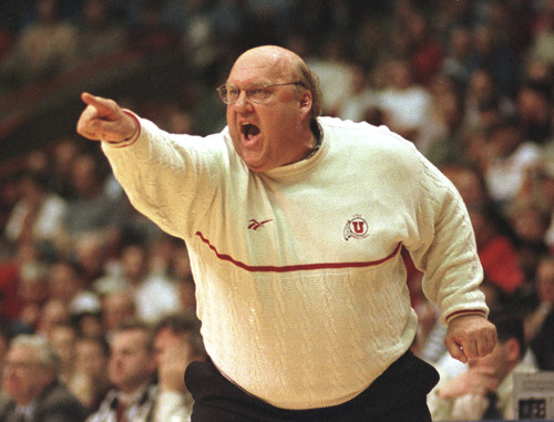 Utah coach Rick Majerus yells support to his team Thursday evening in Boise. Griffin/photo
