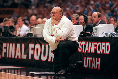 Coaching in his first FInal Four Utah head coach Rick Majerus watches his team play the championship game agianst Kentucky. Griffin/photo