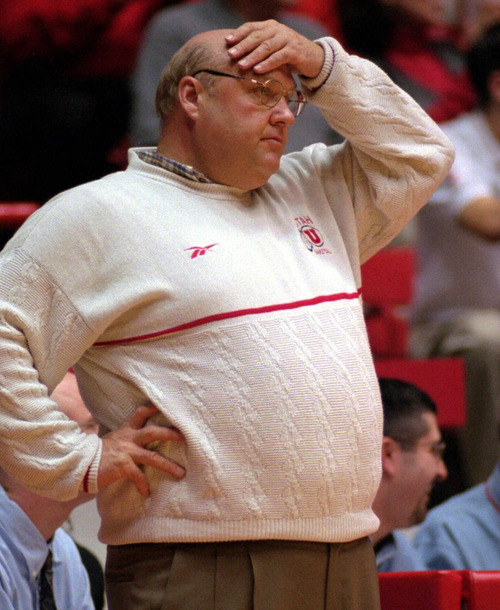 Utah coach Rick Majerus watches as his team heads for a 72-65 loss to New Mexico at the Pit in Albuquerque, N.M., Saturday, Feb. 19, 2000. (AP Photo/Jake Schoellkopf)