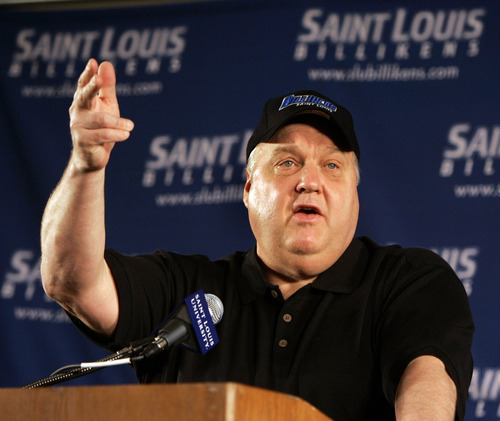 ** FILE ** Rick Majerus speaks during a news conference introducing him as the new basketball coach at Saint Louis University, Monday, April 30, 2007, in this file photo from St. Louis. Majerus, who guided teams to 11 NCAA tournaments in 20 seasons and led Utah to the 1998 Final Four, has seen some painful things in his first year at Saint Louis including a 41-point loss to Kent State.  (AP Photo/Jeff Roberson,file)
