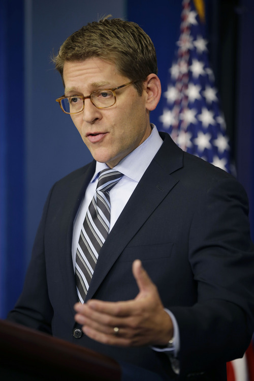 White House Press Secretary Jay Carney gestures during his daily news briefing at the White House in Washington, Monday, Dec., 3, 2012. (AP Photo/Pablo Martinez Monsivais)