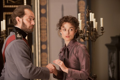 "This film image released by Focus Features shows Jude Law, left, and Keira Knightley in a scene from ""Anna Karenina."" (AP Photo/Focus Features, Laurie Sparham)"