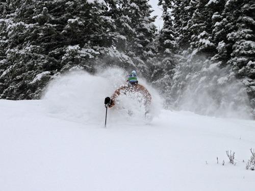 A skier at Powder Mountain the morning of Wednesday, Oct. 24, 2012. Courtesy Matt Baydala  |  Ski Utah