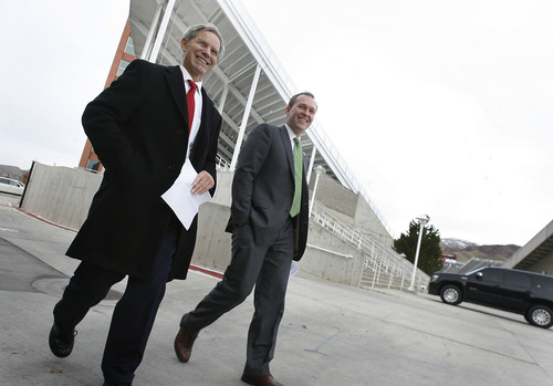Scott Sommerdorf  |  The Salt Lake Tribune               Salt Lake City Mayor Ralph Becker (left) and County Mayor-elect Ben McAdams arrive together for the announcement about the intention to pursue a bid for the 2026 Winter Olympics.