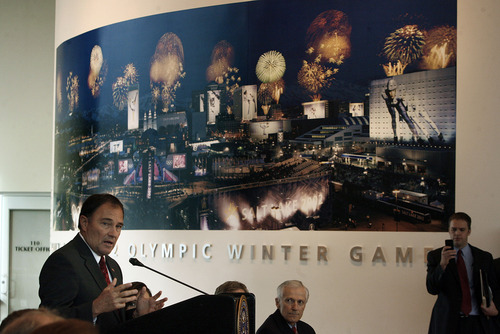 Scott Sommerdorf  |  The Salt Lake Tribune               Utah Gov. Gary Herbert speaks about the intention to seek a bid for a 2026 winter Olympics in the Olympic Cauldron Park & Visitor Center Gallery, at Rice-Eccles Stadium, Monday, December 3, 2012. Herbert and SLC Mayor Becker announced their responses to the Olympic Exploratory Committee's recommendation that Salt Lake City plan on bidding for the 2026 Winter Olympics.