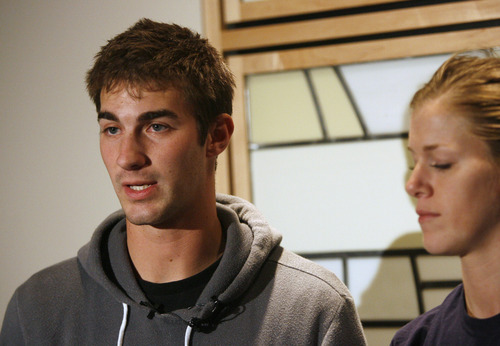 Rick Egan  | The Salt Lake Tribune   John Berger (left) stands with his sister Lauren Berger as they make a statement about their brother, USU basketball player Danny Berger at Intermountain Medical Center in Murray, Wednesday, December 5, 2012. Danny Berger collapsed during basketball practice Tuesday in Logan.