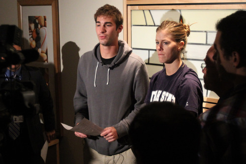 Rick Egan  | The Salt Lake Tribune   John Berger stands with his sister Lauren Berger as they make a statement about their brother, USU basketball player Danny Berger at Intermountain Medical Center in Murray, Wednesday, December 5, 2012. Danny Berger collapsed during basketball practice Tuesday in Logan.