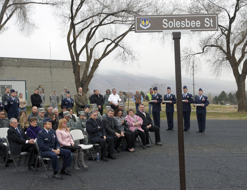 Al Hartmann  |  The Salt Lake Tribune  Family members of Tech Sgt. Kristoffer Solesbee, who died May 26, 2011, in Afghanistan, joined Hill Air Force Base personnel on Tuesday in a ceremony to rename 12th Street to Solesbee Street to honor him.