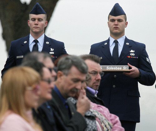Al Hartmann  |  The Salt Lake Tribune  Family members of Tech Sgt. Kristoffer Solesbee, who died May 26, 2011 in Afghanistan, attend a ceremony in Solesbee's honor on Monday.