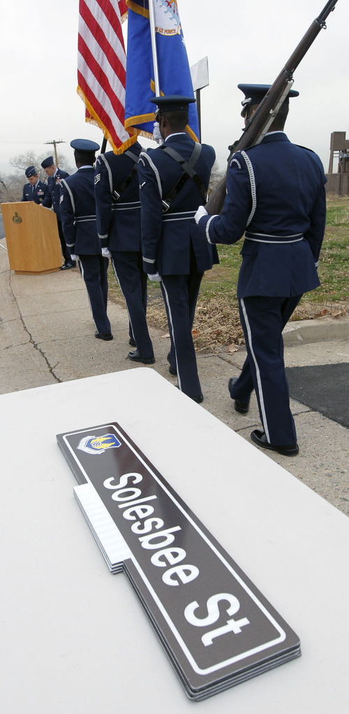 Al Hartmann  |  The Salt Lake Tribune A Hill Air Force Base ceremony to rename 12th Street to Solesbee Street took place Tuesday, Dec. 4, 2012.