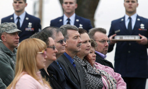 Al Hartmann  |  The Salt Lake Tribune  Family members of Tech Sgt. Kristoffer Solesbee attend a Tuesday ceremony to rename 12th Street to Solesbee Street. Solesbee was a bomb dismantler assigned to Hill AFB's 775th Civil Engineer Squadron Explosive Ordnance Disposal who died in Afghanistan in 2011.