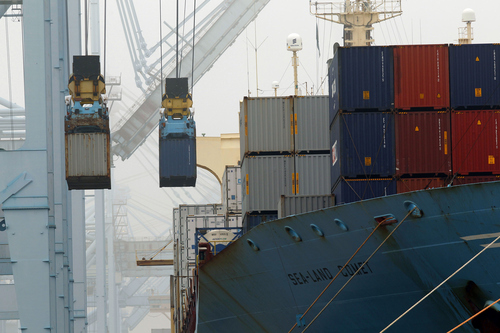 Containers unloaded from cargo ships at APM Terninals in the Port of Los Angeles on Wednesday, Dec.  5, 2012. Work resumed at the Los Angeles and Long Beach harbors after settlement of a strike that crippled the nation's busiest container port complex for more than a week.  (AP Photo/Nick Ut)