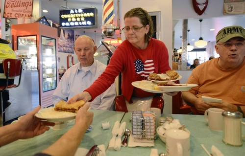 FILE - In this Tuesday, Nov. 6, 2012, file photo, people are served breakfast in the Nutcracker Restaurant in Pataskala, Ohio. U.S. service companies grew at a slightly faster pace in November because sales and new orders rose, a good sign for the economy. The Institute for Supply Management says its index of non-manufacturing activity rose to 54.7 from 54.2 in October. Any reading above 50 indicates expansion. November's figure is above the 12-month average of 54.4. (AP Photo/Michael E. Keating)