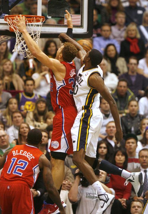 Rick Egan    The Salt Lake Tribune   Utah Jazz small forward Jeremy Evans (40) blocks a shot by Los Angeles Clippers power forward Blake Griffin (32), in NBA action. The Los Angeles Clippers beat the Jazz 105-104, in Salt Lake City, Monday, December 3, 2012.