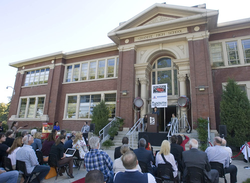 Paul Fraughton | The Salt Lake Tribune Cherie Wood, mayor of South Salt Lake and a graduate of Granite High School, announces that the school will be turned into a film and television production studio.
