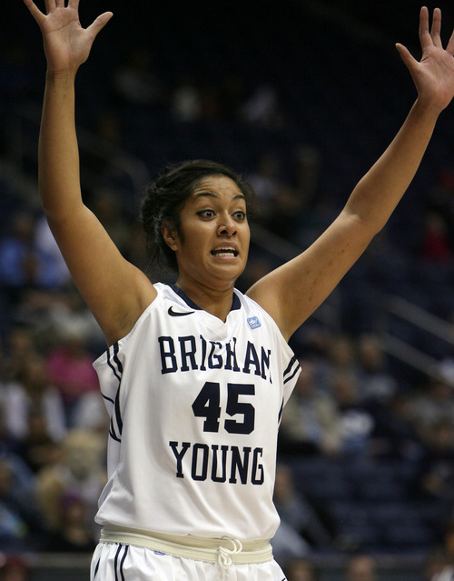 Steve Griffin   The Salt Lake Tribune   BYU's Keilani Unga waves her arms as she calls for the ball in the post during game against Utah State University at the Marriott Center in Provo, Utah Tuesday December 4, 2012.