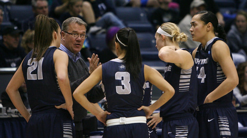 Steve Griffin   The Salt Lake Tribune   USU's head coach Jerry Finkbeiner talks to his team during game against BYU at the Marriott Center in Provo, Utah Tuesday December 4, 2012.