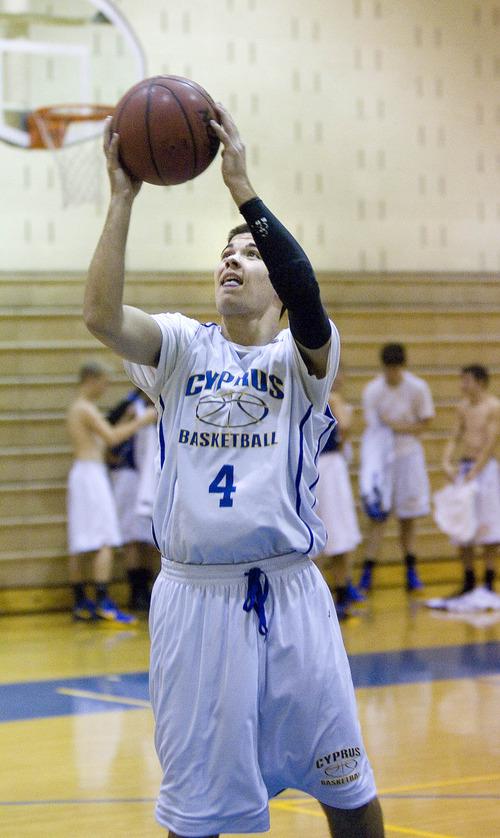 Paul Fraughton  |   Salt Lake Tribune Cyprus High School senior guard, Connor Squire at a recent team practice.  Monday, December 3, 2012