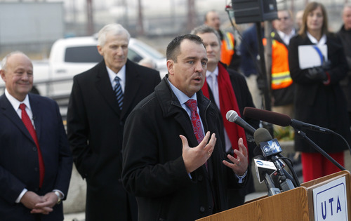 Al Hartmann  |  The Salt Lake Tribune UTA Chairman Greg Hughes speaks to crowds at opeing of the FrontRunner extension at the UTA Central Station in Salt Lake City Thursday, December 6. The FrontRunner connects Salt Lake City and Provo.