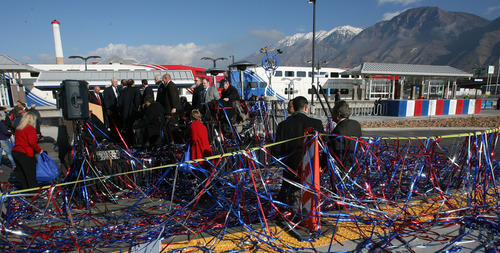 Steve Griffin |  The Salt Lake Tribune Streamers cover the VIP stand during UTA ceremony at the Provo Station to open the new commuter rail line between Salt Lake City and Provo Thursday, December 6, 2012.