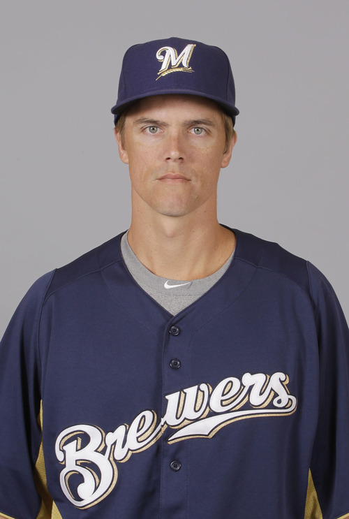 This is a 2012 photo of Zack Greinke of the Milwaukee Brewers baseball team.  This image reflects the Milwaukee Brewers active roster as of Feb. 26, 2012 when this image was taken. (AP Photo/Darron Cummings)