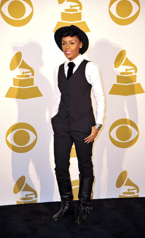 Janelle Monae poses for a photo backstage at the Grammy Nominations Concert Live! at Bridgestone Arena on Wednesday, Dec. 5, 2012, in Nashville, Tenn. (Photo by Donn Jones/Invision/AP)