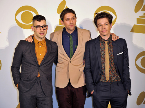 The band Fun, from left, Jack Antonoff, Andrew Dost and Nate Ruess pose for a photo backstage at the Grammy Nominations Concert Live! at Bridgestone Arena on Wednesday, Dec. 5, 2012, in Nashville, Tenn. (Photo by Donn Jones/Invision/AP)