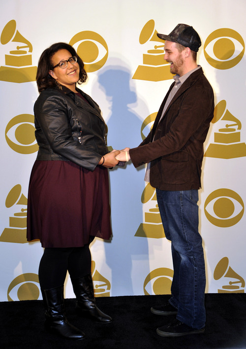 Brittany Howard, left,  and Steve Johnson of Alabama Shakes pose for a photo backstage at the Grammy Nominations Concert Live! at Bridgestone Arena on Wednesday, Dec. 5, 2012, in Nashville, Tenn. (Photo by Donn Jones/Invision/AP)