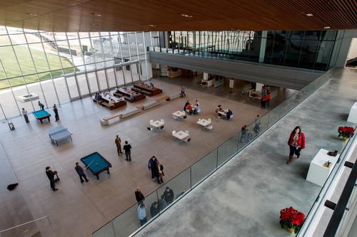 Trent Nelson  |  The Salt Lake Tribune A large open space in the center of the new Adobe building Thursday December 6, 2012 in Lehi.