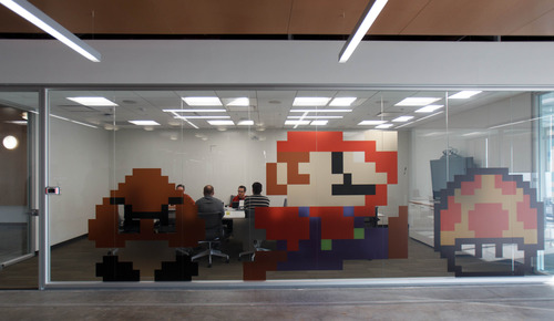 Trent Nelson  |  The Salt Lake Tribune The Mario-themed conference room (Miyamoto, named after the creator of Mario) at the new Adobe building Thursday December 6, 2012 in Lehi.