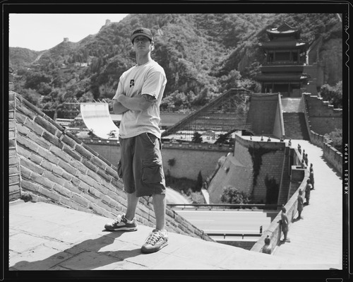 """Skateboarder Danny Way in front of the Great Wall of China in 2005. Way is the topic of the documentary """"Waiting for Lightning."""" Greg Hunt  