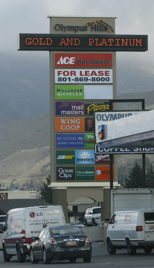 Rick Egan  |  The Salt Lake Tribune  Salt Lake County has passed an ordinance regulating electronic messaging signs, limiting how often they can change and how much animation is allowed, such as this scrolling sign on Wasatch Boulevard near 3900 South Friday, December 7, 2012.