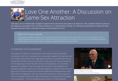 The LDS Church has unveiled a website about same-sex attraction, including video conversations with church leaders as well as gay members and their families.