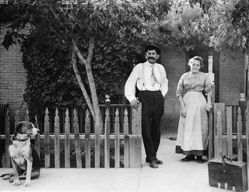 Italian immigrants Mr. and Mrs. Bertolina in front of their home in Helper, Utah, ca. 1914. Photo Courtesy Utah State Historical Society