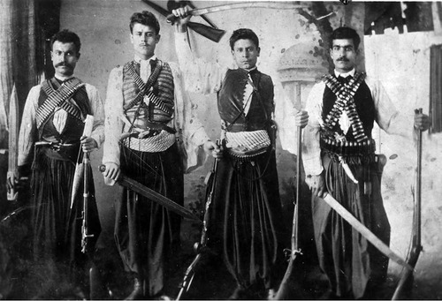Future Utah judge Sabeh A. Sawaya (far right) in Lebanese costume. Photo Courtesy Utah State Historical Society