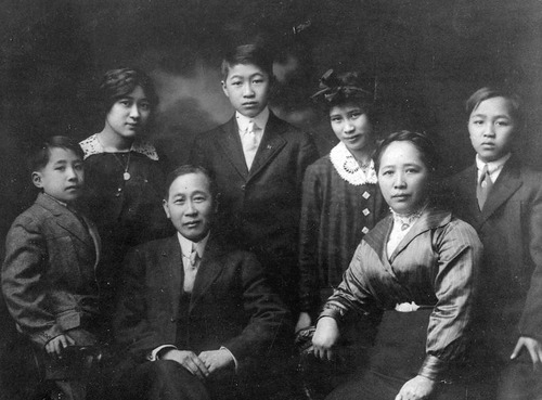 Portrait of the King family  in Salt Lake City circa 1910.  Front row: Dr. Ernest King as a child; father and mother Charles and Ruth Y., both Congregationalists from Canton; Raymond, commercial photographer. Second row: Lily; Walter, Salt Lake newsman; and Dr. Ruth M., like Ernest a doctor of medicine. Photo Courtesy Utah State Historical Society